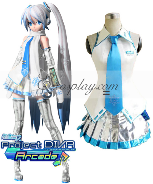 Vocaloid Project Diva Snow Miku Cosplay Costume