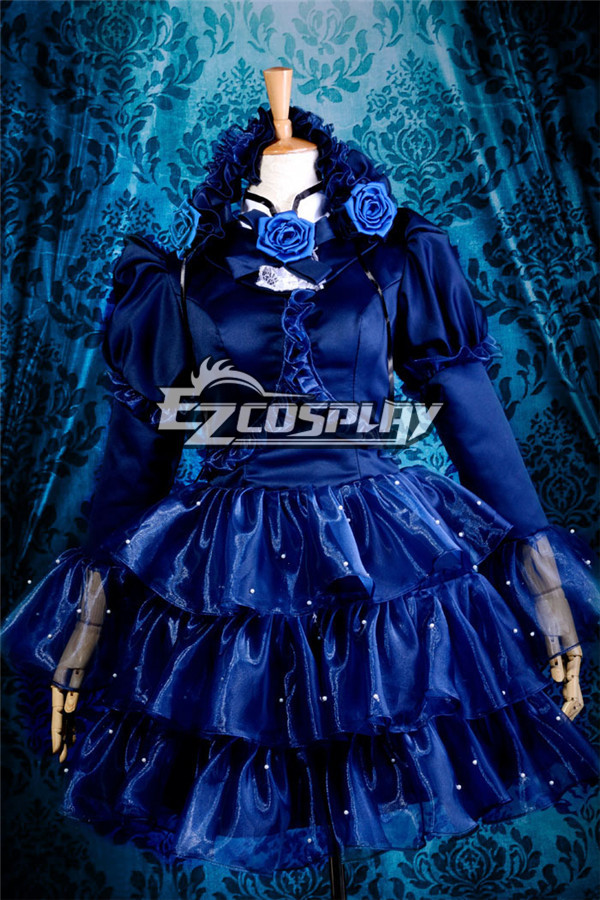 Sweet Lolita Blue Dress Cosplay Costume Christmas-Y260