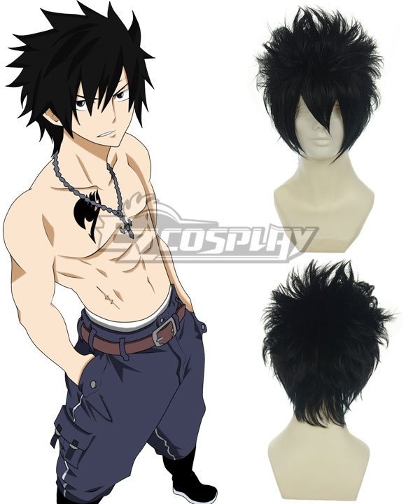 Fairy Tail Gray Fullbuster Black Cosplay Wig