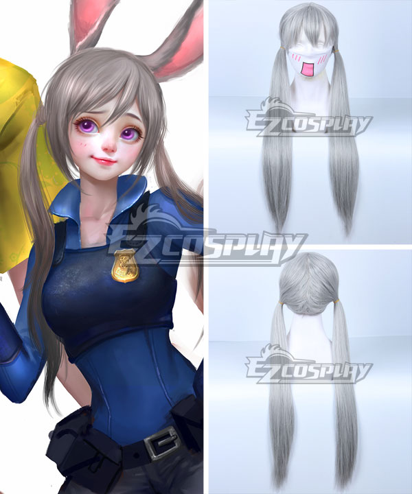 Disney Zootopia Officer Judy Hopps Silver white Cosplay Wig None