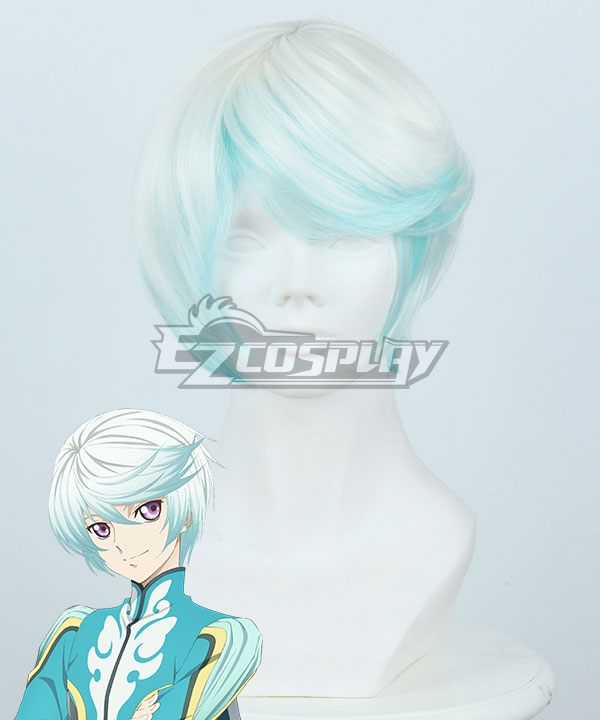 Anime Costumes ZBW0731 Tales of Zestiria the X Mikleo White Blue Cosplay Wig 414B